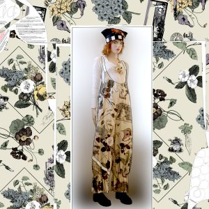 botanical baggy overalls printed right on fabric