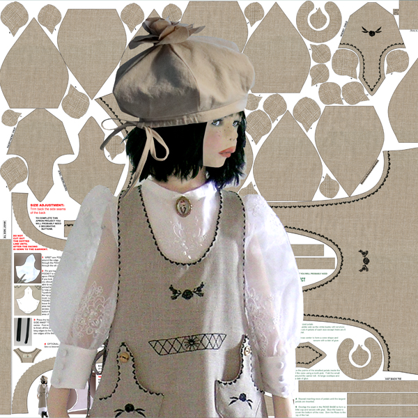 child in apron and hat in front of pattern printed on fabric