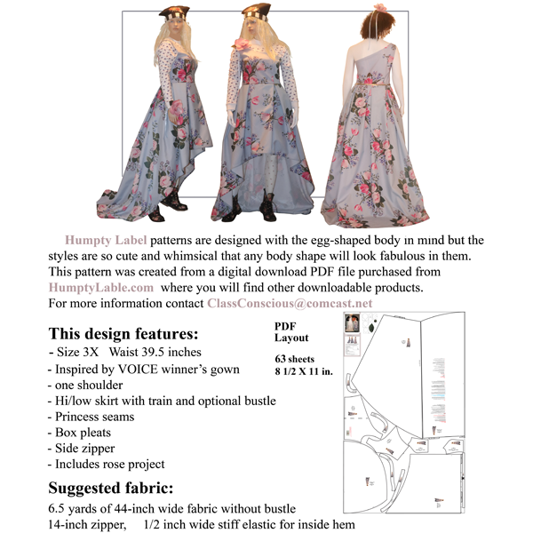 Voice-inspired Prom Dress pattern download PLUS SIZE